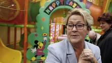 Parti Québécois Leader Pauline Marois tours a children's indoor play centre in Blainville, Que., on March 25, 2014. (CHRISTINNE MUSCHI/REUTERS)