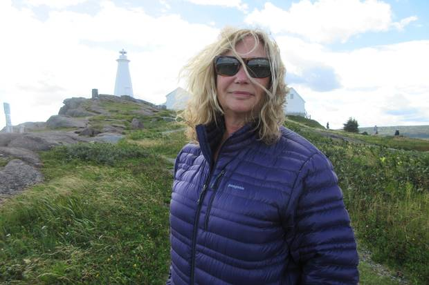 Margaret Wente at the lighthouse at Cape Spear, Canada's easternmost point.