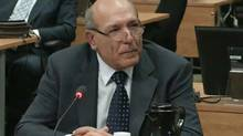 Nicolo Milioto testifies at the Charbonneau Inquiry in Montreal, Monday, Feb.18, 2013 in this screengrab image. (The Canadian Press)