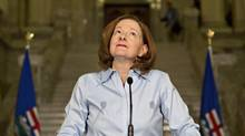 Alberta Premier Alison Redford announces her resignation in Edmonton, Alberta on Wednesday March 19, 2014. (JASON FRANSON/THE CANADIAN PRESS)