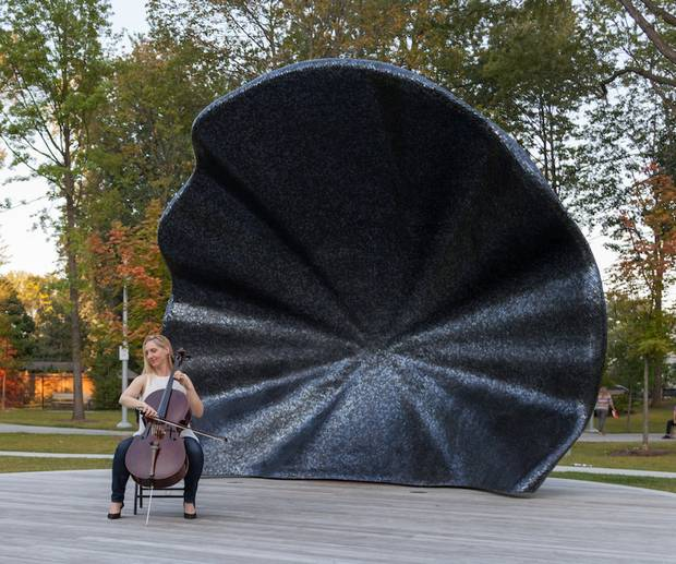 A seashell-shaped bandstand, also created by Eventscape, adds to the cultural presence around the Toronto Centre for the Arts.
