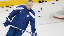 Randy Carlyle skates at the Bell Centre in Montreal Saturday. (Graham Hughes/Graham Hughes/The Canadian Press)