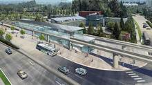 An artistic rendering of Douglas College station on the SkyTrain's soon-to-begin-construction Evergreen Line. (Handout)