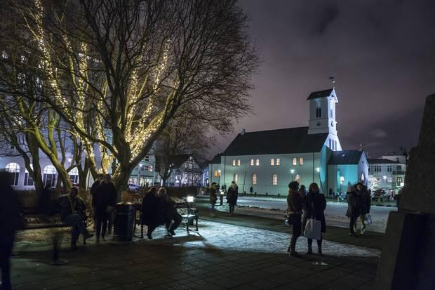 The heated sidewalks of Reykjavik, capital of Iceland.