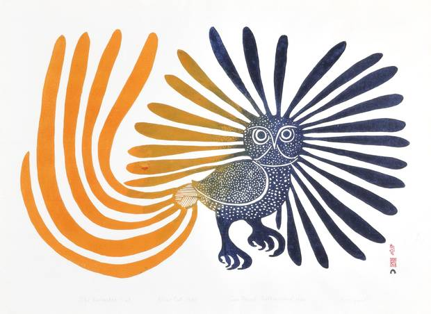Kenojuak Ashevak's iconic stonecut The Enchanted Owl, part of the 1960 Cape Dorset release, was featured on a postage stamp in 1970.