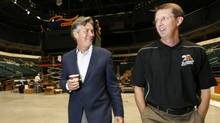 File: Manitoba Premier Gary Doer walks down memory lane with Mark Chipman, Chairman of the True North, as they walk through the MTS Centre Wednesday, September 2, 2009 and remember the struggles they faced when they were building the arena in downtown Winnipeg. Chipman has been a longtime supporter of Doer's. Doer recently announced his resignation as leader of Manitoba's NDP and appointment as Canada's ambassador to the United States. John Woods/The Globe and Mail. (JOHN WOODS)