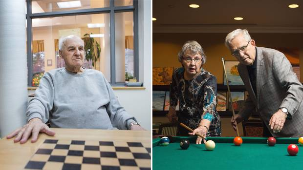 Left: Doug Bennett, 94, at Cummer Lodge, a long-term care facility. Right: Marny and Roy Loach at Toronto's Dunfield Retirement Residence.