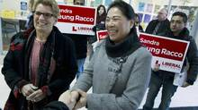 Ontario Premier Kathleen Wynne, left, was at the T&T Grocery Store and the Promenade Mall in Thornhill on Jan. 20, 2014, meeting voters with Sandra Yeung Racco, who is running in a by-election here Feb. 13, 2014. (Peter Power/The Globe and Mail)