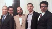 Snover Dhillon, centre, in a photograph posted by Tory MP Patrick Brown. Mr. Brown is standing between Mr. Dhillon and former Conservative candidate Stockwell Day, at left. (The Canadian Press)