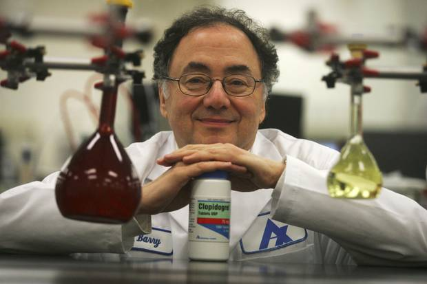 August, 2006: Barry Sherman is shown with a container of clopidogrel bisulfate, a generic drug for heart disease then newly approved by the U.S. Food and Drug Administration. The drug was at the centre of a years-long patent feud between Mr. Sherman's company, Apotex, and Bristol-Myers Squibb, maker of the brand-name equivalent Plavix.