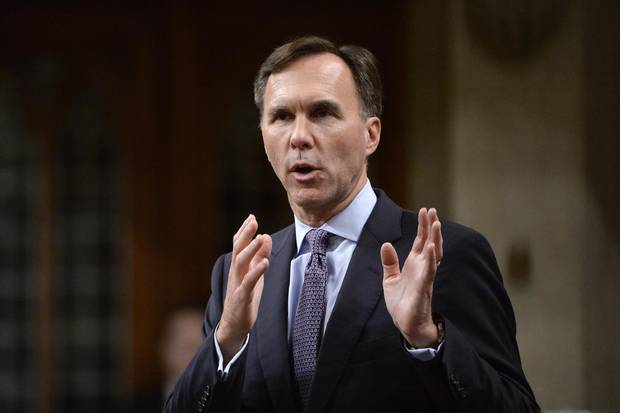 Minister of Finance Bill Morneau announces the government's economic update during Question Period on Parliament Hill, in Ottawa on Thursday, October 19, 2017.