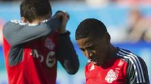 Toronto FC's Joao Plata (R) and Eric Avila react to losing the game against the DC United during their MLS soccer match in Toronto, May 5, 2012. The Toronto FC have set an all-time MLS record with the worst record to start a season at zero wins and eight losses. REUTERS/Mark Blinch (MARK BLINCH)