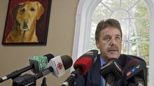 New Democrat MP Peter Stoffer fields questions on his decision to change is vote on the gun registry at a news conference in his Fall River, N.S., office on Sept. 20, 2010. (ANDREW VAUGHAN/The Canadian Press)