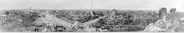 A panoramic view of the strategic town of Lens. The Battle of Hill 70 saw Canadian soldiers take a strategic hill near the town, so named because it was 70 metres above sea level. It took place only four months after the more famous battle of Vimy Ridge nearby.