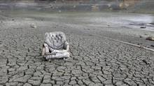 Even after some much-needed rain, the Almaden Reservoir, near <240>San Jose, Calif., is virtually dry on Feb. 7. (Marcio Jose Sanchez/AP)