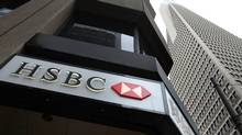 The HSBC logo is displayed on the exterior of an HSBC bank branch March 2, 2009 in San Francisco, California. (Justin Sullivan/Getty Images/Justin Sullivan/Getty Images)
