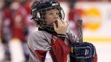 A junior hockey player takes part in the 'Practice Like a Pro' Hockey Camp help in Toronto on Saturday February 5, 2011. (Chris Young For The Globe and Mail)