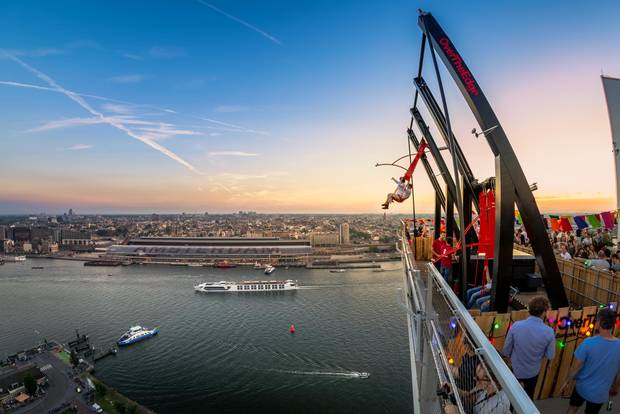 The A'DAM Lookout in Amsterdam boasts 360-degree views and a pair of metal swings that extend over the edge of the building.