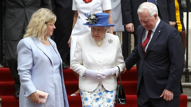 July 19, 2017: The infamous breach of protocol where Mr. Johnston touched the arm of Queen Elizabeth II at a visit to Canada House in London.
