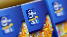 Intel processors are displayed at a store in Seoul. (STRINGER/KOREA/REUTERS)