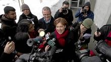 Premier designate Christy Clark is scrummed by the media after winning the Liberal Leadership election. (John Lehmann/The Globe and Mail/John Lehmann/The Globe and Mail)