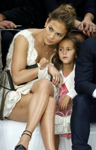 "Jennifer Lopez: JLo has always been a status symbol, so it was no different when she was pregnant. She gave birth to twins Emme (pictured here) and Maximilian in 2008, looking fabulous the entire time. Her children have managed to escape the spotlight, even during Lopez's divorce from their father Marc Anthony. (She is now with Casper Smart). Lopez said in an interview recently that she's not sure if she'll have more children, but that ""it would be an absolute blessing"" if she did. (CHARLES PLATIAU/REUTERS)"