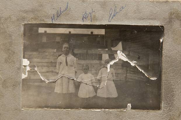 Kaye Chapman is shown in the middle with two of her siblings. Mrs. Chapman's siblings had been late for school the day of the explosion and were safe while walking to school.