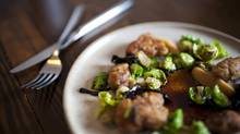 Sweetbread, rutabaga, Brussels sprouts and spruce jus at the Farmer's Apprentice. (Rafal Gerszak for the globe and mail)