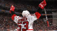 Jeff Skinner of the Carolina Hurricanes celebrates his goal at 19:45 of the first period against th