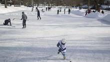 Cailtin Rother, 7, works on her hockey skills on a rink in Toronto's east end on Sunday, February 10, 2013. (Chris Young For The Globe and Mail)