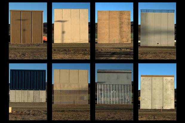 Eight prototypes of the Trump administration's proposed border wall are on display near San Diego, along the most populous region of the U.S.-Mexico frontier.