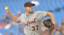 Detroit Tigers starting pitcher Max Scherzer throws against the Toronto Blue Jays during first inning AL baseball action in Toronto on Wednesday, July 3, 2013. (Nathan Denette/THE CANADIAN PRESS)