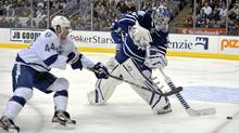 Toronto Maple Leafs goalie Jonas Gustavsson was good enough for the Leafs to walk away with a much-needed win. (Mike Cassese/Reuters/Mike Cassese/Reuters)