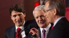 Justin Trudeau, left to right, Marc Garneau and George Takach take part in the Liberal leadership debate in Mississauga, Ont., on Saturday, February 16, 2103. (Chris Young/The Canadian Press)