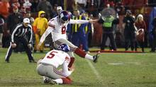 New York Giants kicker Lawrence Tynes kicks the winning field goal against the San Francisco 49ers in overtime on Jan. 22, 2012. (Jeff Haynes/Reuters/Jeff Haynes/Reuters)