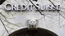 In this April 3, 2012 file picture the logo of Swiss bank Credit Suisse is photographed at a building in Zurich, Switzerland. (Alessandro Della Bella/AP)
