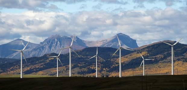 Windmills near the town of Pincher Creek, Alta.