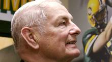 Former Alberta Premier Don Getty reminisces about his Edmonton Eskimos teammate quarterback Jackie Parker in the Edmonton Eskimos locker room Nov. 7, 2006. (Jason Scott/CP/Jason Scott/CP)