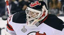 The puck approaches New Jersey Devils' Martin goalie Martin Brodeur in the second period during Game 4 of the Stanley Cup finals against the Los Angeles Kings, Wednesday, June 6, 2012, in Los Angeles. (Mark J. Terrill/AP)