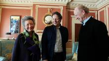 Adrienne Clarkson and John Ralston Saul flank Robert Lepage prior to the Tenth Glenn Gould Prize ceremony at Rideau Hall. (Dave Chan FOR THE GLOBE AND MAIL)