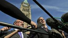 NDP leadership candidate Brian Topp speaks to reporters in front of the Peace Tower on Sept. 23, 2011. (Sean Kilpatrick/THE CANADIAN PRESS)