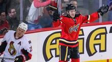 Calgary Flames centre Markus Granlund (60) celebrates his goal against the Ottawa Senators during the first period at Scotiabank Saddledome. (Sergei Belski/USA Today Sports)