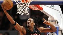 Toronto Raptors' Chris Bosh (4) attempts to score during the first half of an NBA basketball game against the New York Knicks on Friday, Jan. 15, 2010, in New York. (AP Photo/Frank Franklin II) (Frank Franklin II)