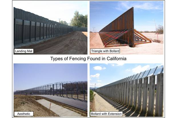 California, where U.S.-Mexico border fences first began to emerge, had an array of different types of fences as of 2011.