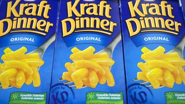 Kraft Dinner boxes at a Metro grocery store in Quebec City.