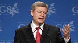 Prime Minister Stephen Harper speaks at his closing news conference at the G8 Summit