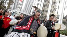 Native protestors march to Enbridge headquarters in Vancouver on December 2nd, 2010. In an unprecedented alliance, 61 Indigenous Nations have come together to declare their opposition to the proposed Northern Gateway Pipeline. (Simon Hayter/Simon Hayter for the Globe and Mail)
