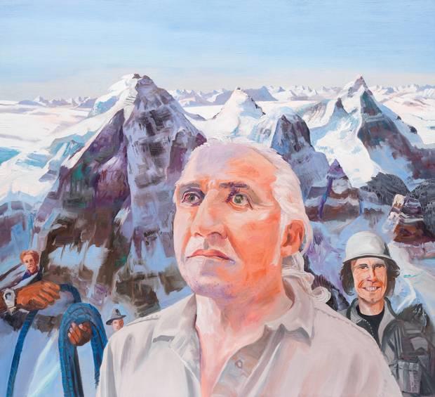 John Hartman, Barry Blanchard, the North Pillar of North Twin, 2015, oil on linen, 60 x 60 inches