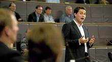 John Baker, ceo of Desire2Learn Innovative Learning Technology, a local business that employs more than 300 people, voices his opinion to city council during a public consultation on the city's proposed rapid transit plan at city hall in Kitchener, Ont. May 26, 2011. (Kevin Van Paassen)