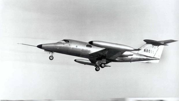 The first Learjet, the Model 23, completes its first flight after less than a year in production in 1963. (BOMBARDIER)
